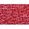 Patchworkstoff Schnörkelschrift rot Merry and Bright