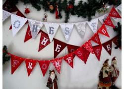 Weihnachtsgirlande Wimpelkette weiß