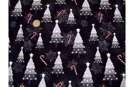 Patchworkstoff Christbaum schwarz Snowy Wishes