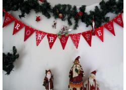 Weihnachtsgirlande Wimpelkette rot