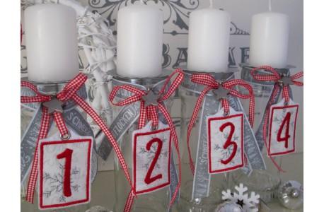Adventskranz Zahlen 1 - 4 rot weiß silber