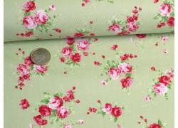 Fat Quarter Rosenstoff grün rosa Lecien