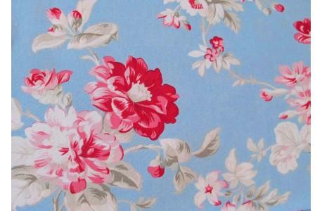 Blumenstoff pink blau
