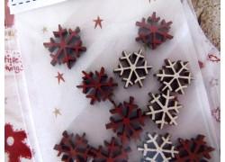 Holz Deko Eiskristalle Schneeflocken