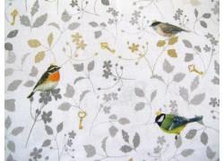 Daniela Drescher Stoff Vogelprinzen ocker braun