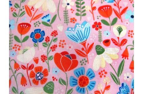 Blumenstoff rosa türkis Echanted Forest