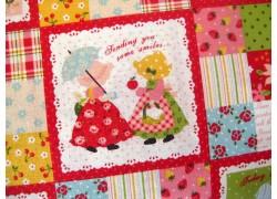 Kinderstoffe Baumwolle Lecien rot grün blau Blumen Mädchen