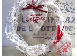 Lavendelsäckchen Herz mit Stickerei und Schleife
