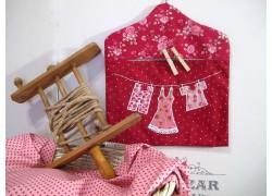 Wäscheklammerbeutel mit Applikation rot