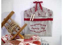 Wäscheklammerbeutel Leinen natur bordeaux