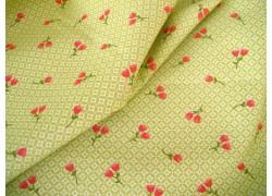 Designerstoff Moda Blumenstoff grün rot Strawberry Jam
