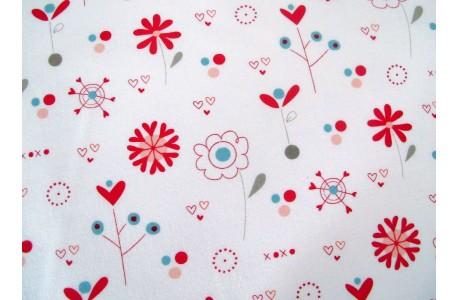 Patchworkstoff Blumen rot weiß Love You Moda Quiltstoff