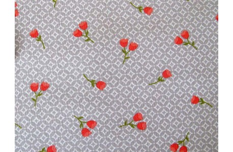 Designerstoff grau rot Strawberry Jam Moda Patchworkstoff