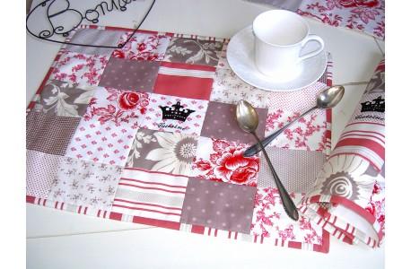 Tischset rot taupe