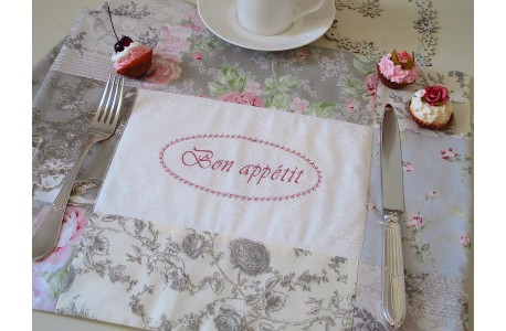 Tischset grau rose