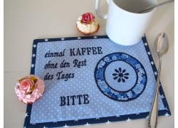 MugRug ein Untersetzer für die Kaffeetasse in blau