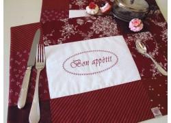 Tischset dkl. rot weiß