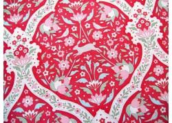 Tilda Stoffe Blumen Hasen rot Bon Voyage Hare Tile Red