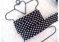 Schrägband schwarz weiß Punkte