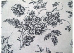 Rosenstoff schwarz grau Quiltstoff