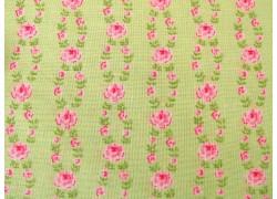 Rosenstoff Fleurs grün rosa Quiltstoff