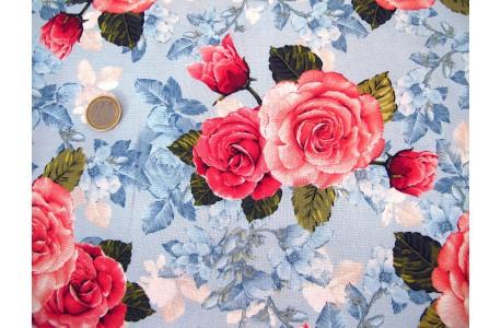 Rosenstoff blau rose Quiltstoff Rose Garden
