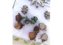 Holz Knöpfe Eicheln Blätter The Bee Company