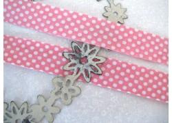 Schrägband rosa weiß Punkte
