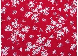 Baumwollstoff rot weiß Blumenstoff