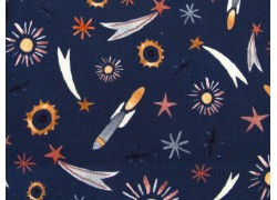 Westfalenstoff Raketen dunkelblau Junge Linie