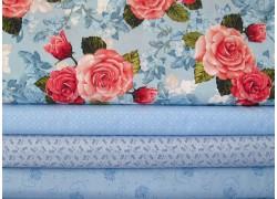 Patchworkstoffe hellblau Rosen Herzchen