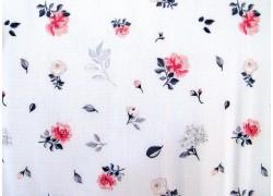 Baumwollstoff Blumenstoff Sudbina weiß schwarz
