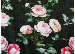 Rosenstoff dunkelgrün rosa Rosalinda Designerstoff