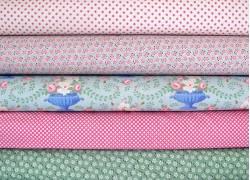Tilda Stoffpaket Blumen grün rosa