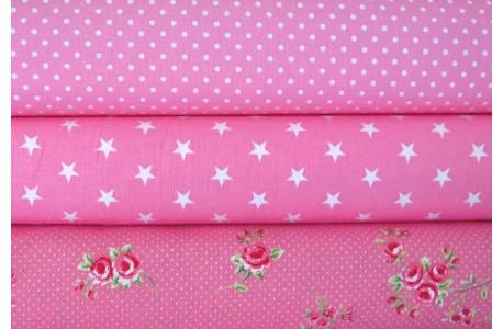 Stoffpaket Baumwollstoffe Rosen rosa pink
