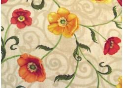 Stoff Klatschmohn ocker rot Windflower Patchworkstoff