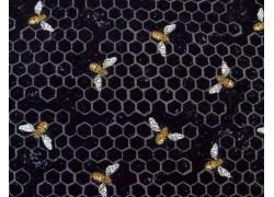 Designerstoff Bienen schwarz Bee Joyful Patchworkstoff