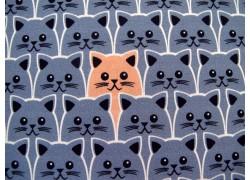 Baumwollstoff Katzen rauchblau Kim