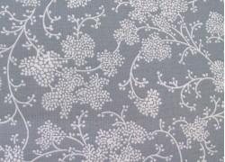 Blumenstoff creme grau Baumwollstoff