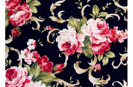 Rosenstoff schwarz grau Victorian Blends Quiltstoff