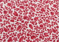 Patchworkstoff Blätter rot creme Chafarcani