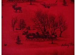 Weihnachtsstoff Patchworkt Toile de Jouy Yuletide rot