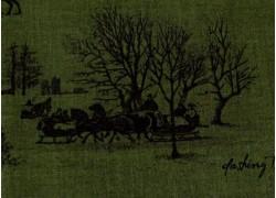 Weihnachtsstoff Patchworkt Toile de Jouy Yuletide grün