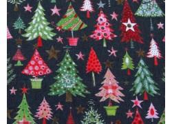 Weihnachtsstoff Baumwolle Tannen grün acufactum