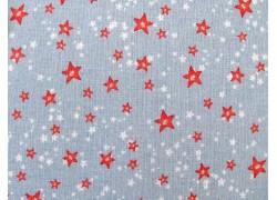 Weihnachtsstoff Baumwolle Sternenhimmel rot grau acufactum