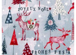 Weihnachtsstoff Baumwolle Hirsche und Tannen rot grau acufactum