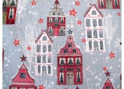 Weihnachtsstoff Baumwolle Winterstadt rot grau acufactum