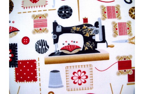 Patchworkstoff Nähutensilien Sewing mends the soul
