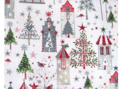 Weihnachtsstoff Baumwolle Winterdorf rot grün acufactum
