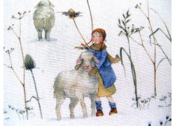 Daniela Drescher Stoff Winterkinder + Schafe Kinderstoff